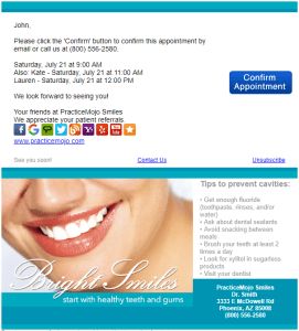 Dental Appointment Confirmation Email