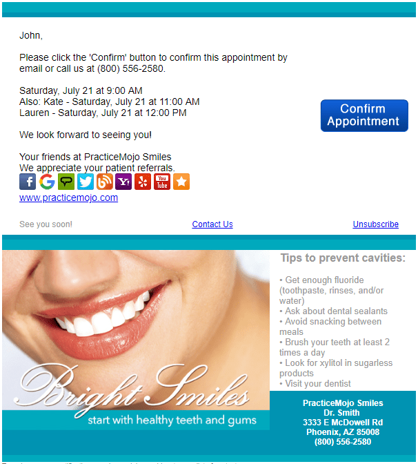 It's recommended to add some topics that you like to discuss, to give extra guidance to the objective you have with this meeting. What Makes A Great Appointment Reminder Email Template Practicemojo Dental Reminder Software