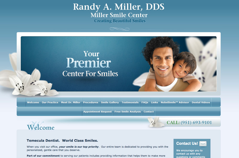 Dental website design example