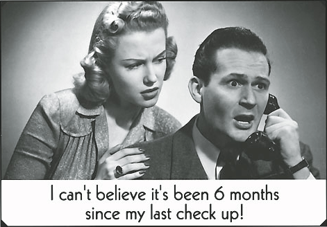 "dental postcard example, black and white image of couple on phone, caption reads ""I can't believe it's been 6 months since my last check up!"""