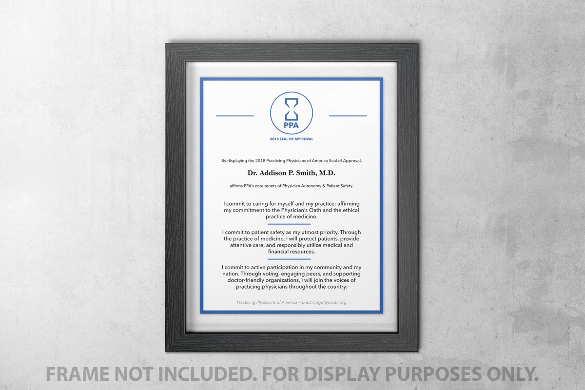 Practicing Physician of America Seal of Approval Product Image (Frame Not Included)