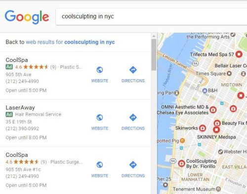 example of ads in google maps