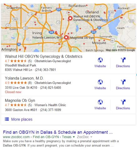 google my business listing for obgyn