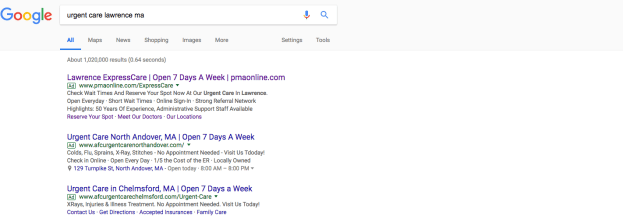 Urgent care search results
