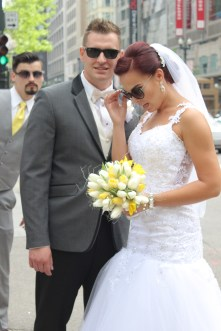 Newly Married couple in downtown Chicago