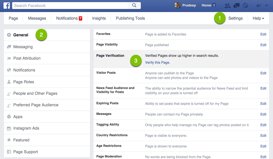 Facebook Admin Settings to get Verified