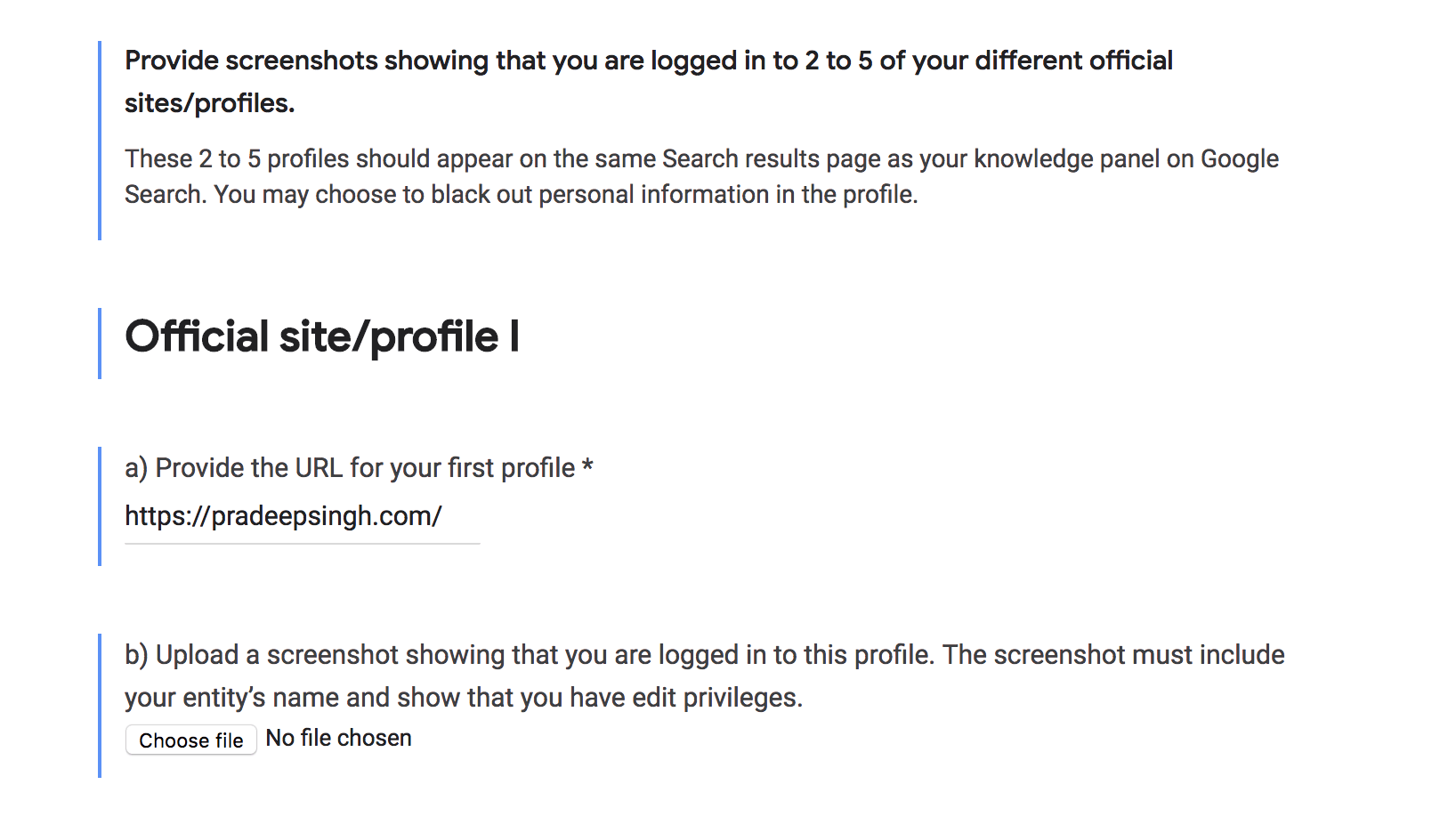 Google knowledge panel Official website logins