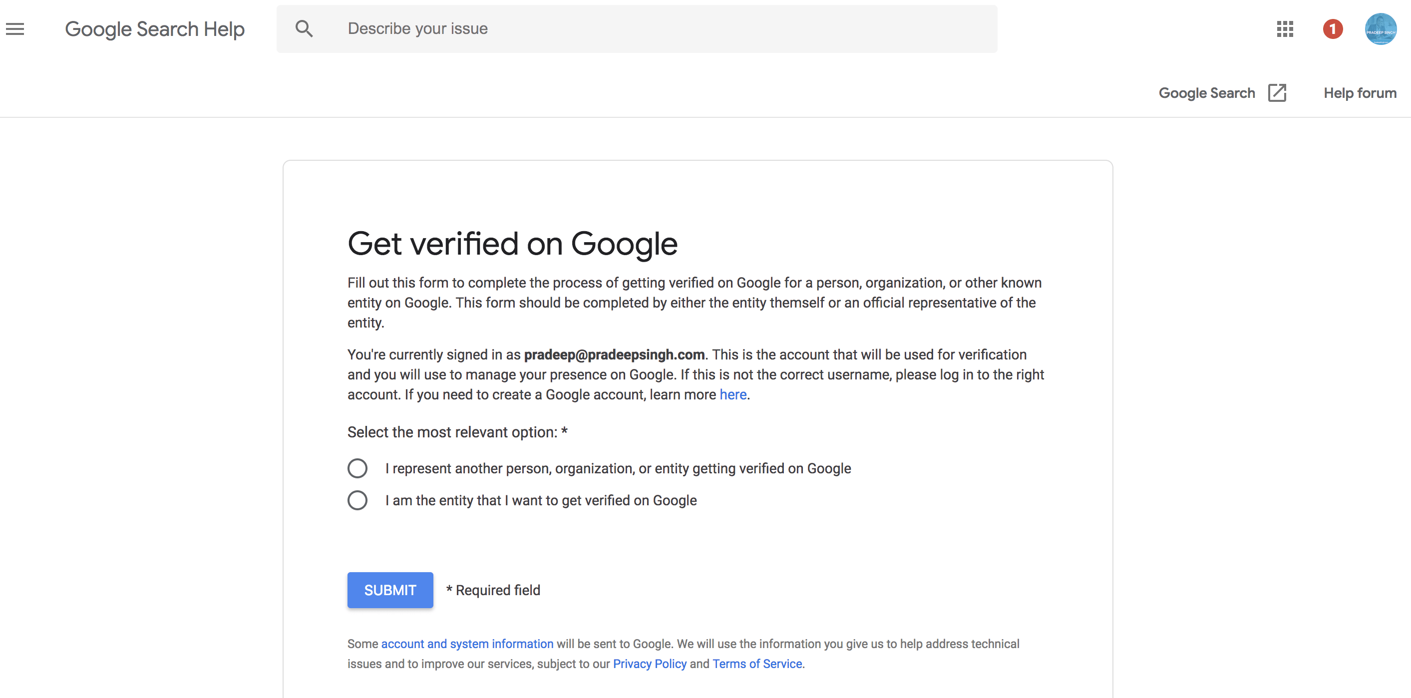 Google knowledge panel verified login