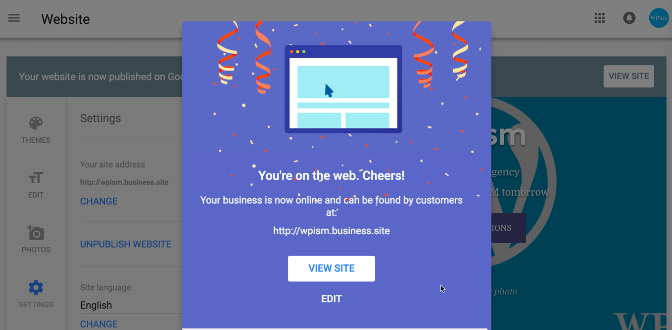 Success notification for Google My Business Website Published