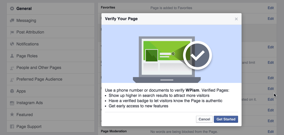 Verify your Business Facebook Page Get Started