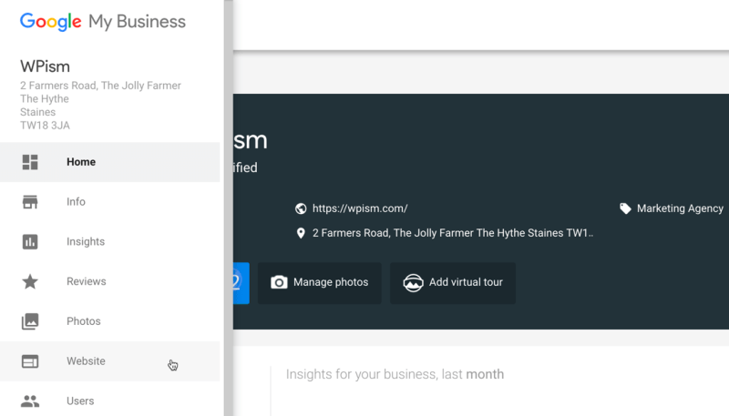 Website Menu on Right Menu of Google My Business account