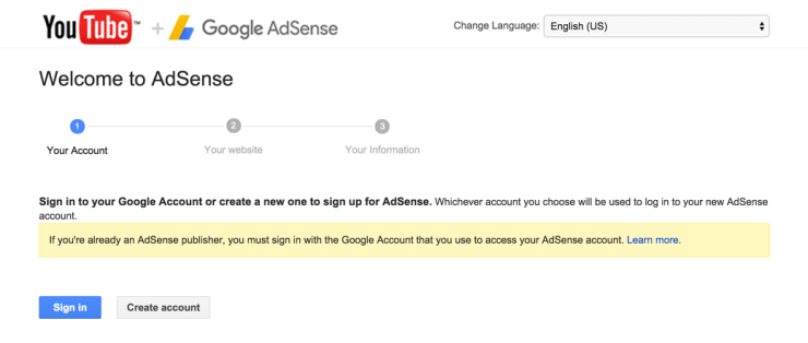 YouTube AdSense Account Setting up Screen
