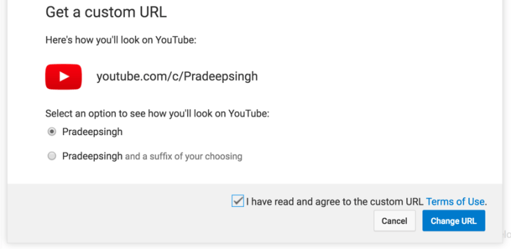 YouTube Channel Pradeep Singh Custom URL Option