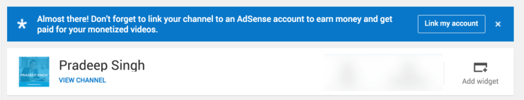 YouTube Notification to Link to Adsense Account