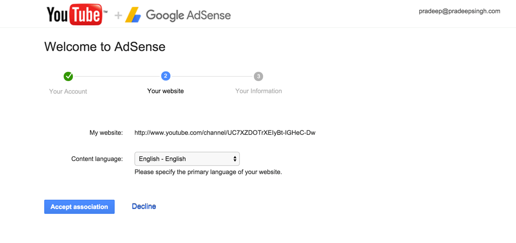 YouTube Welcome to Adsense Account