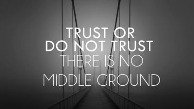 Trust or Do Not Trust there is no middle ground