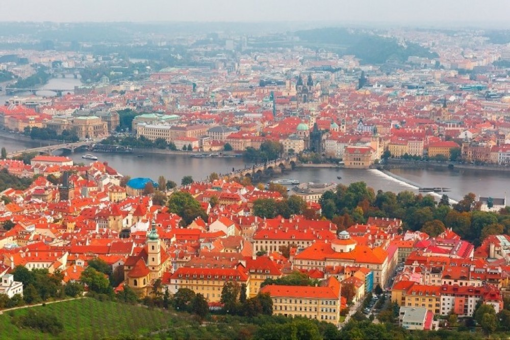 Aerial view over Lesser Town, Old Town and Charles Bridge over the Vltava River in Prague, Czech Republic