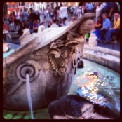 Fountain at Piazza si Spagna, water from the source spring for all fountains in Rome