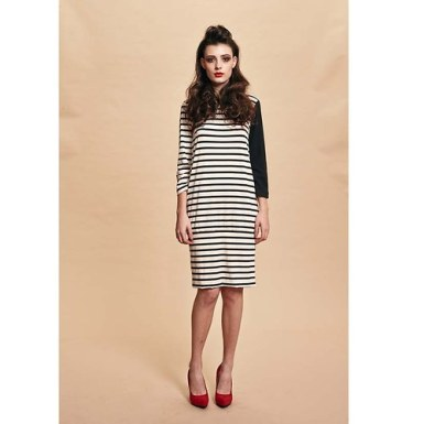 Front view of the S/S14 stripe dress by Zuzana