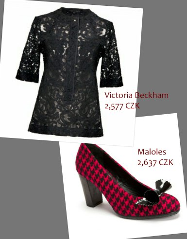 Trend right with a black lace top and houndstooth heels