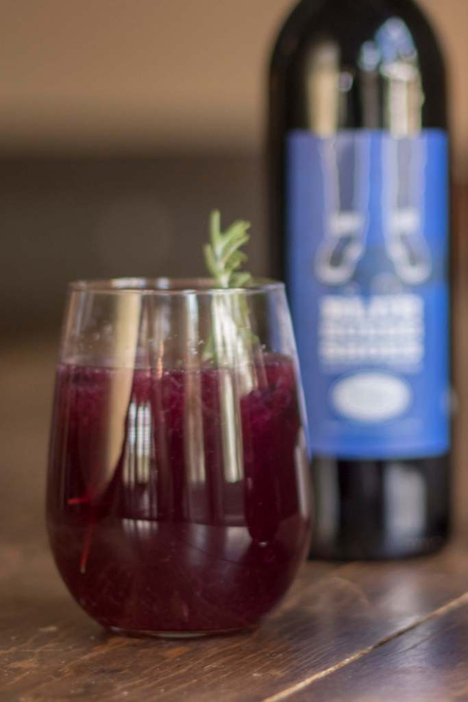 Blue Suede Lemonade is a wine cocktail made with Prairie Berry Winery's Blue Suede Shoes, a blend of blueberry, Blaufrankisch, and Zinfandel.