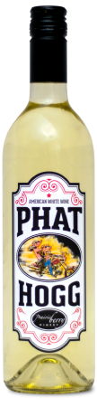 A bottle of Phat Hogg White wine, an unoaked chardonnay made in South Dakota by Prairie Berry Winery