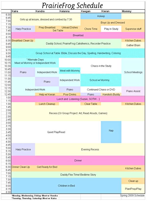 PrairieFrog Schedule Spring 2009