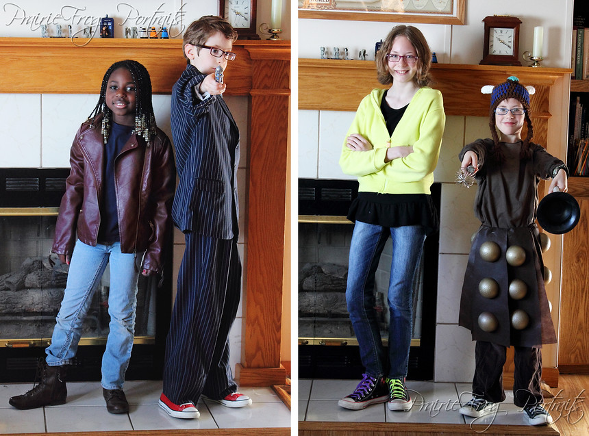 Left to right: Martha Jones (Kiffanie), The Tenth Doctor (Keegan, our birthday boy), Rose Tyler (my niece, KT), and  Dalek Caan (Kieran)