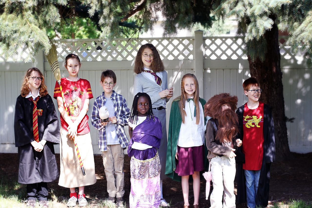 Left to right: Holly Potter (My niece, KT), Katie Bell (Kendra), Harry Potter (Keegan), Padma Patil (Kiffanie) Hermione Granger (Kaira), Ginny Weasley (Keianna), Rubeus Hagrid (Kieran), Ron Weasley (my nephew, CJ)