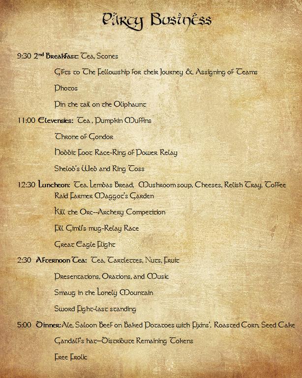 LOTR Party Schedule