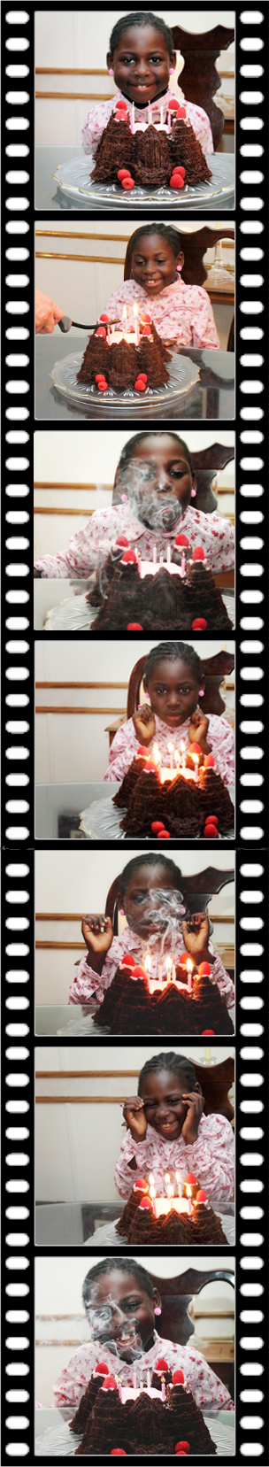 Kiffanie's reaction to trick candles on her cake