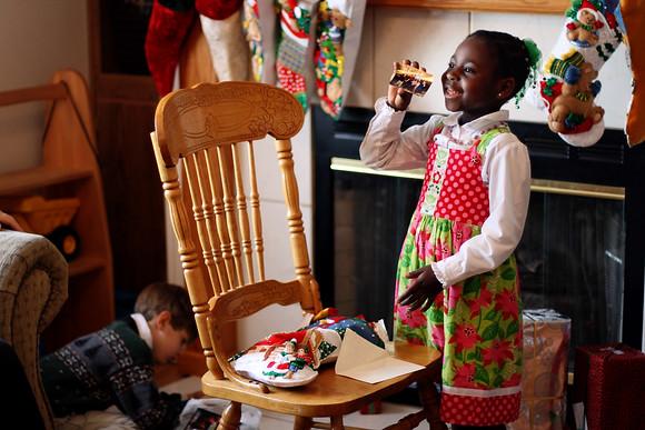 Kiffanie opens her Christmas Stocking