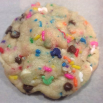 notice my hidden Mickey sprinkles in these yummy cake batter chocolate chip cookies?!