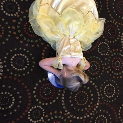 My little Belle-rina! Notice the hidden Mickey style carpet!