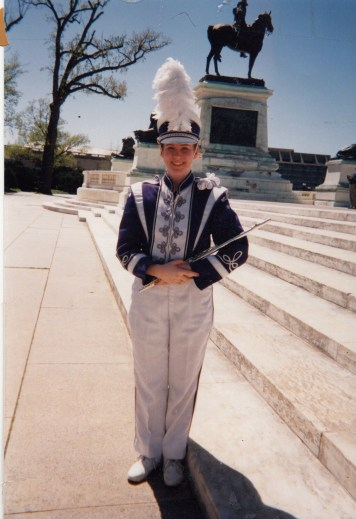 On the U.S. Capitol steps as a high school sophomore flutist in the National Cherry Blossom Parade, April 1998