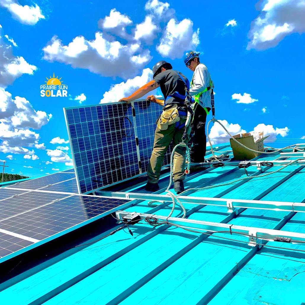 installing solar panels on the water treatment plant in Kawacatoose First Nation