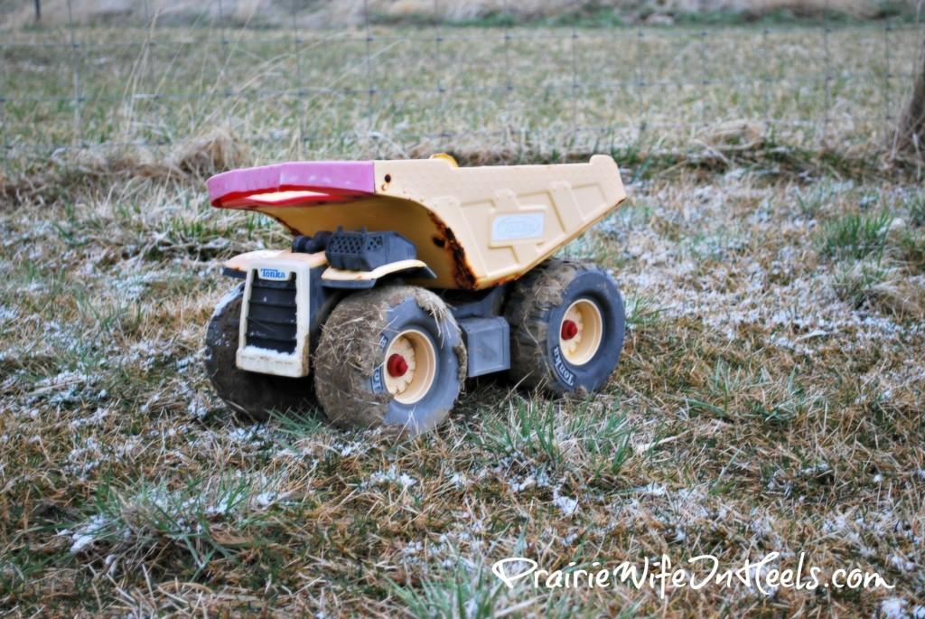 Muddy snowy truck
