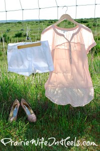 Sheer blouse with white shorts