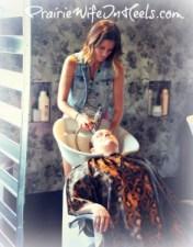 hairstylist washing hair