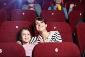 fun mom at movie