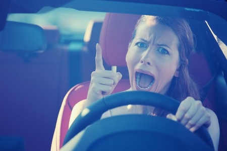angry woman driving