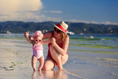 mom at the beach