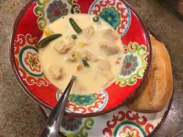 easy cheesy chicken pot pie soup