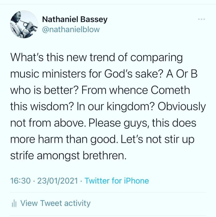 What's this new trend of comparing Music Ministers for God's Sake – Nathaniel Bassey reacts for the second time