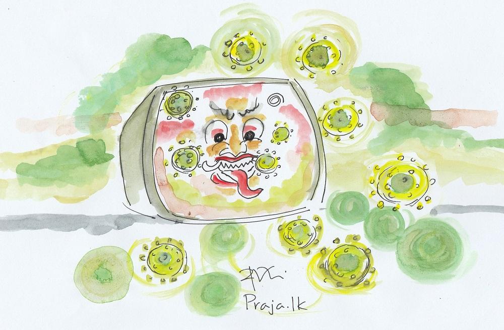 Corona and media - cartoon by Ajith Perakum Jayasinghe