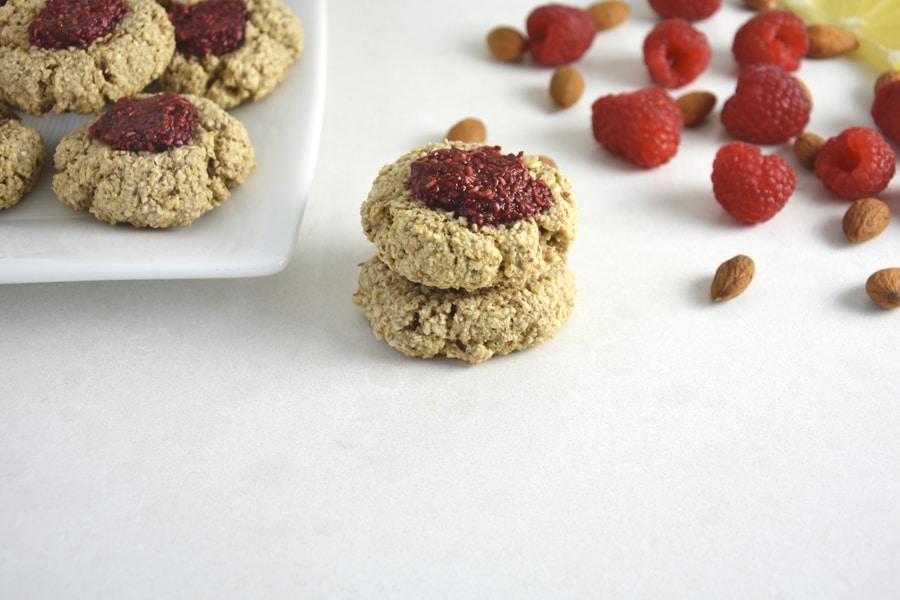 Lemon Thumbprint Cookies with Chia Raspberry Jam
