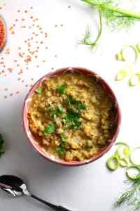 Red Lentil Soup with Leek, Fennel and Celery Heart