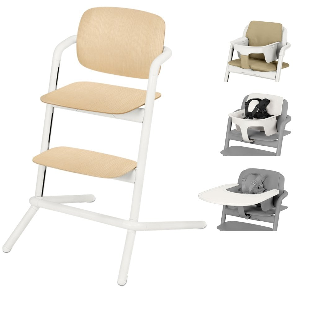 Chair High Chair Cybex Lemo Wood Highchair Baby Seat Tray Pale Beige Comfort Inlay Porcelain White