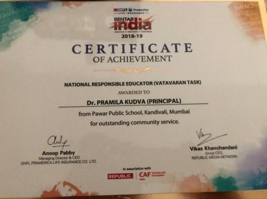 "Dr. Pramila Kudva has been awarded ""National Responsible Educator"" (Vatavaran Task) Award – 2018 -19 for outstanding community Service by Behtar India"