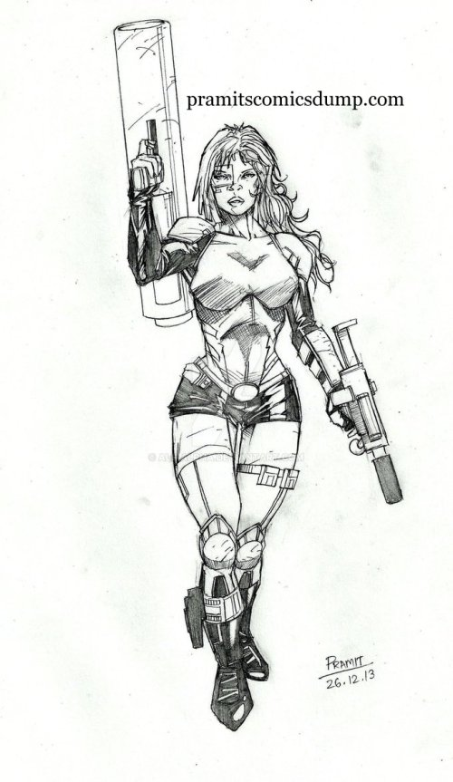 futuristic cannon girl by Pramit